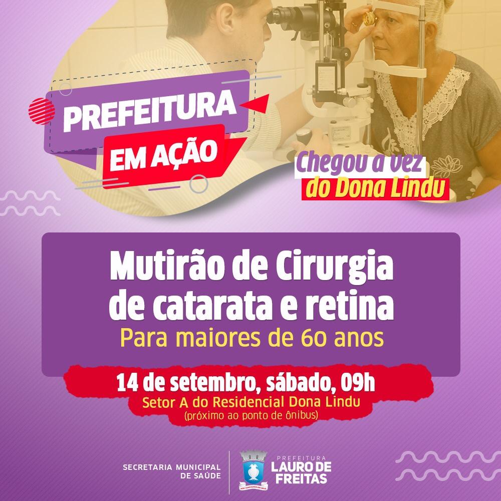 Triagem para cirurgia de catarata e retina será realizada no Prefeitura em Ação neste sábado (14)