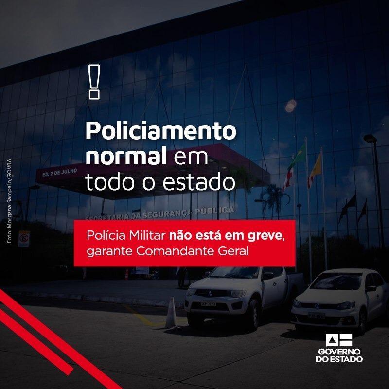 Polícia Militar não está em greve, garante Comandante Geral; policiamento normal em todo o estado