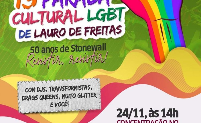 Parada Cultural LGBT agita Lauro de Freitas neste domingo (24)