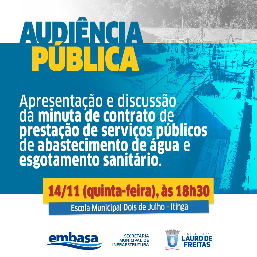 Prefeitura e Embasa realizam audiência pública nesta quinta-feira (14) em Itinga