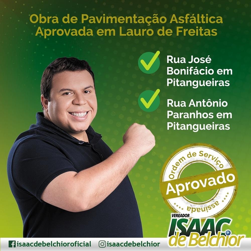 Vereador Isaac de Belchior tem indicação de Asfalto para Rua José Bonifácio em Pitangueiras aprovada