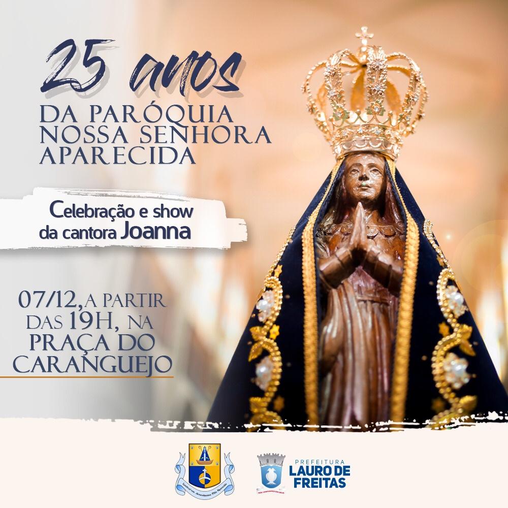 Paróquia N. Sra Aparecida, na Itinga, comemora 25 anos com show de Joanna