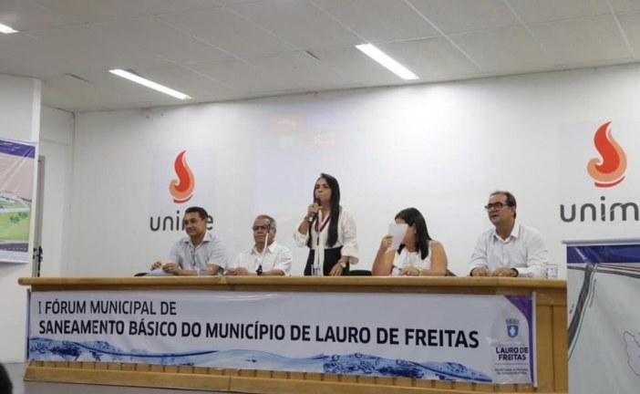 Após a correria com Rui Costa, inaugurando obras importantes na cidade, Moema finalizou o dia participando do Fórum Municipal de Saneamento Básico