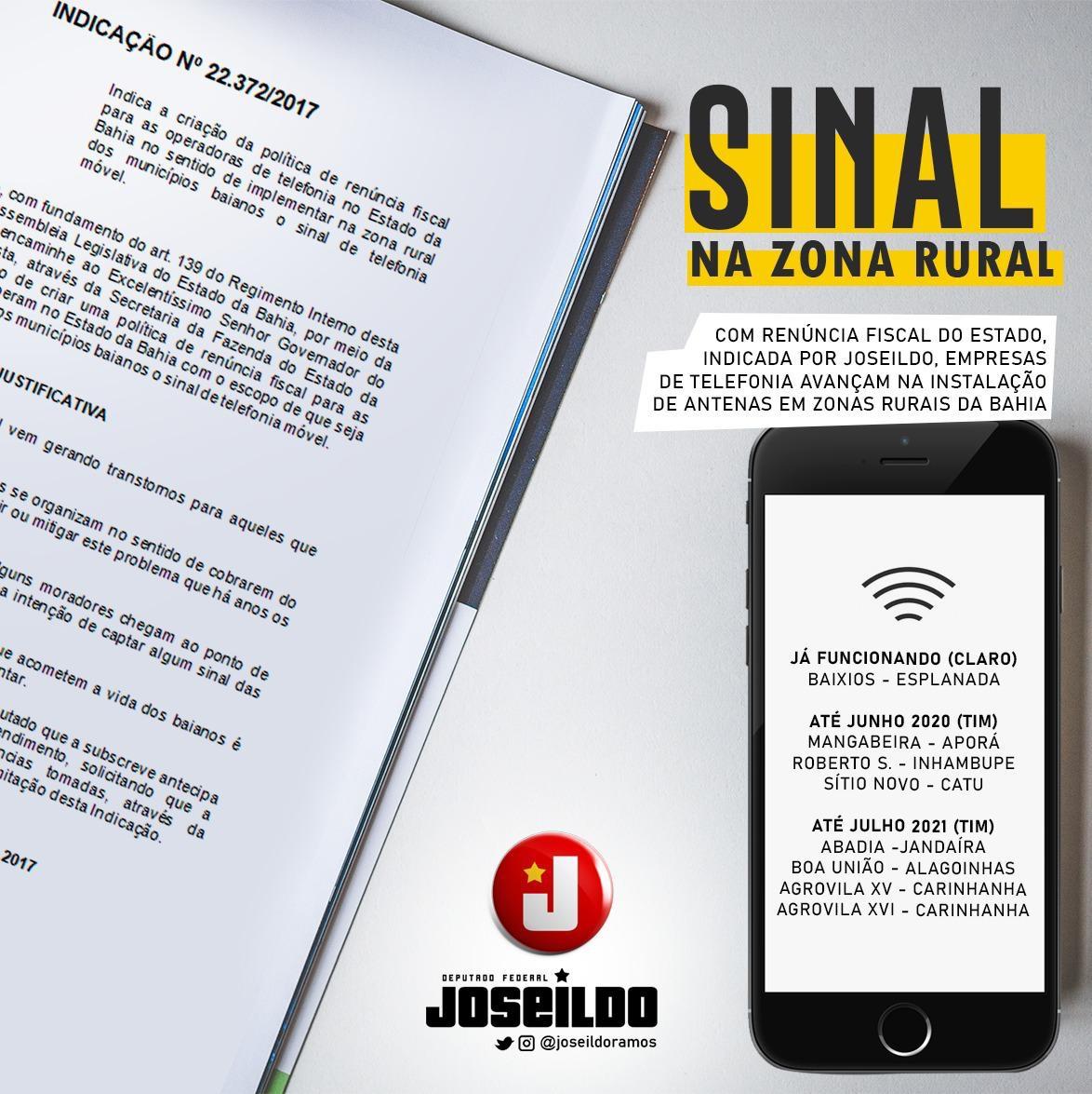Programa Fala Bahia levará sinal de telefonia para zona rural a partir de indicação de Joseildo