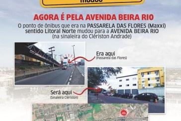 Ponto em frente ao Maxxi será desativado e transferido para Av. Beira Rio, na sinaleira do Clériston Andrade, a partir desta segunda (16)