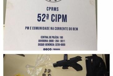 Operação Impacto: Policiais da 52ª CIPM realizam prisão em flagrante por tráfico de drogas e porte ilegal de arma em Lauro de Freitas