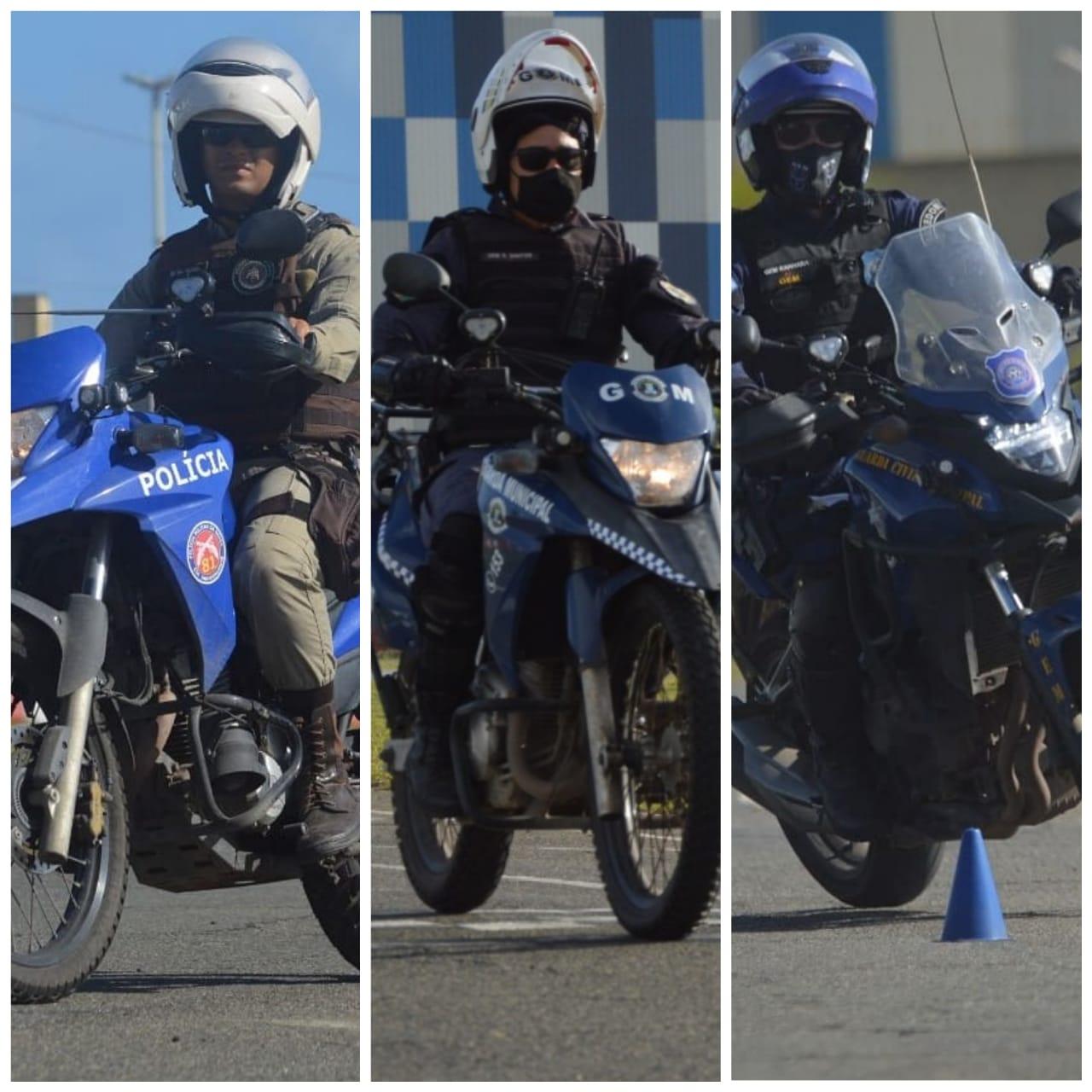 Agentes da Guarda Municipal de Lauro de Freitas e Polícia Militar aprimoram técnicas em curso de pilotagem de moto