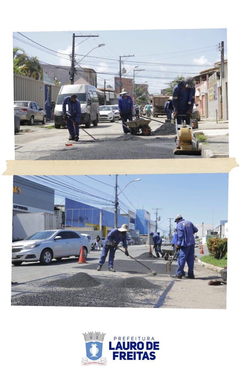 Prefeitura de Lauro de Freitas intensifica ações de manutenção viária