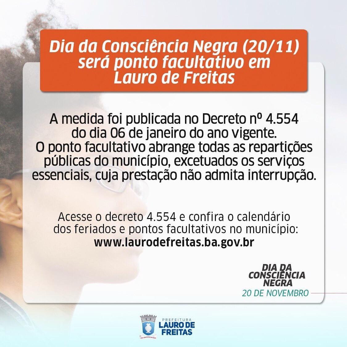 Dia da Consciência Negra será Ponto Facultativo em Lauro de Freitas