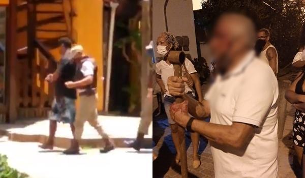 Homem é preso após quebrar carro e agredir idoso em Praia do Forte; veja vídeo