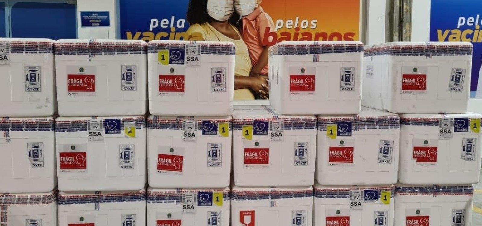 Bahia recebe 186 mil novas doses de Coronavac