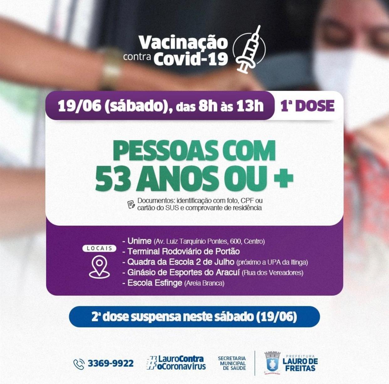 Lauro de Freitas avança na estratégia de vacinação e inicia imunização de pessoas com 53 anos ou mais neste sábado (19)