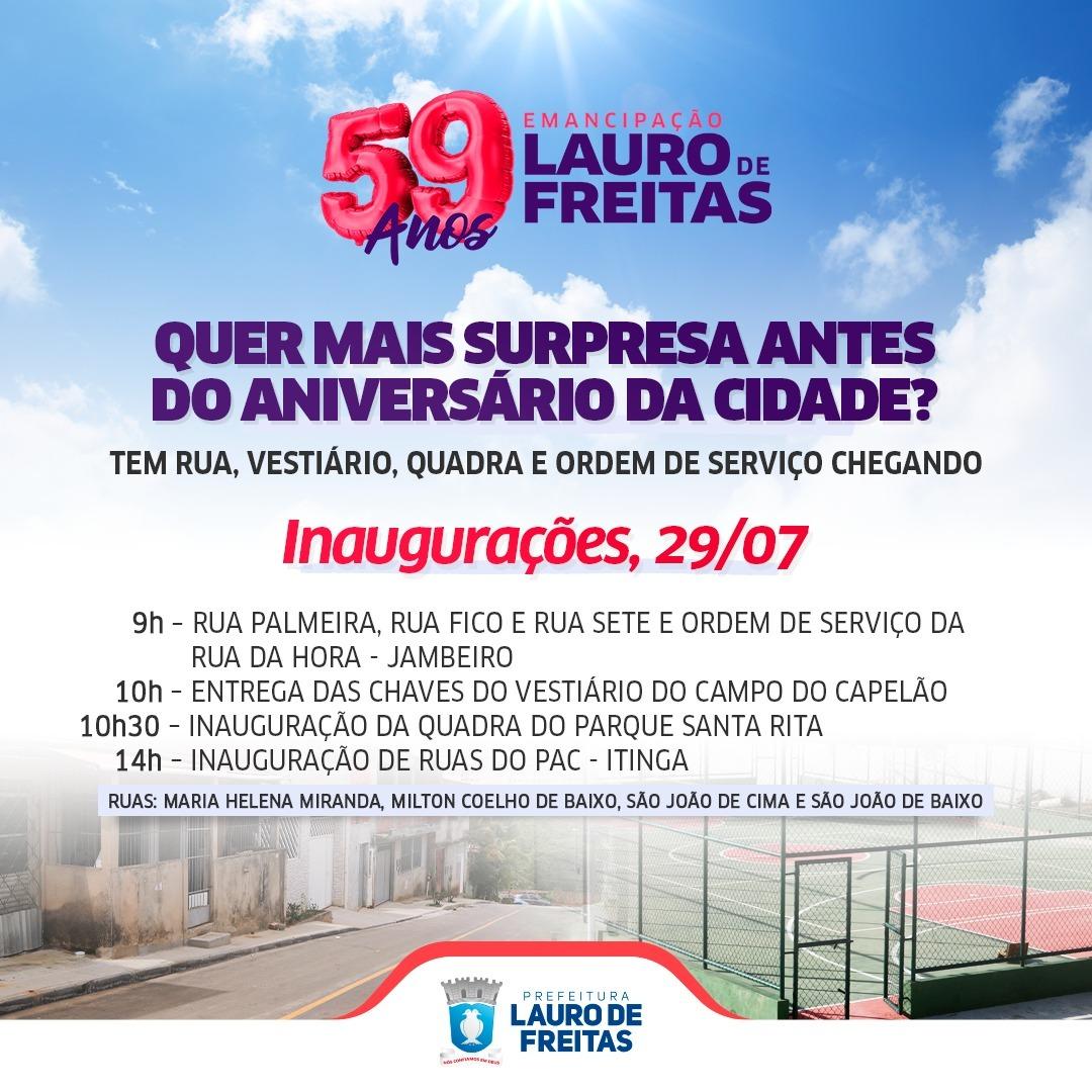 Comemoração dos 59 anos de emancipação de Lauro de Freitas tem entrega de obras e show virtual nesta quinta-feira (29)