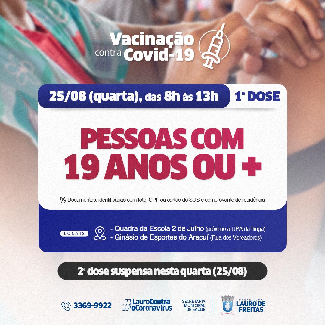 Em Lauro de Freitas, mais três mil pessoas recebem reforço da vacina contra Covid-19. Nesta quarta (25) tem 1ª dose para 19 anos