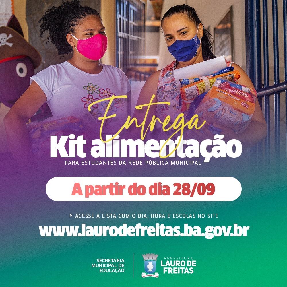 Prefeitura de Lauro de Freitas iniciou entrega de kits alimentação para alunos da rede municipal nesta terça-feira (28)