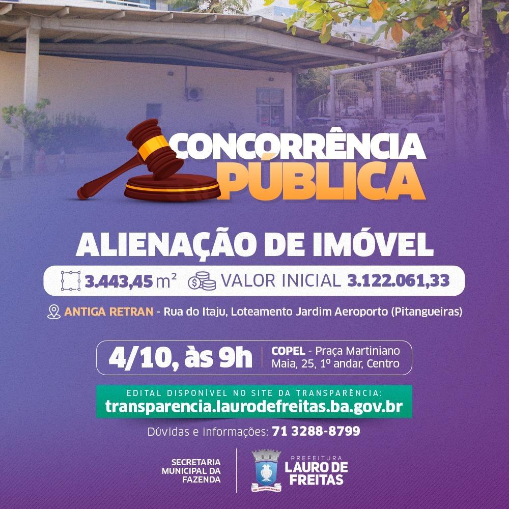 Prefeitura de Lauro de Freitas anuncia venda de imóvel com 3.443 metros quadrados em Pitangueiras