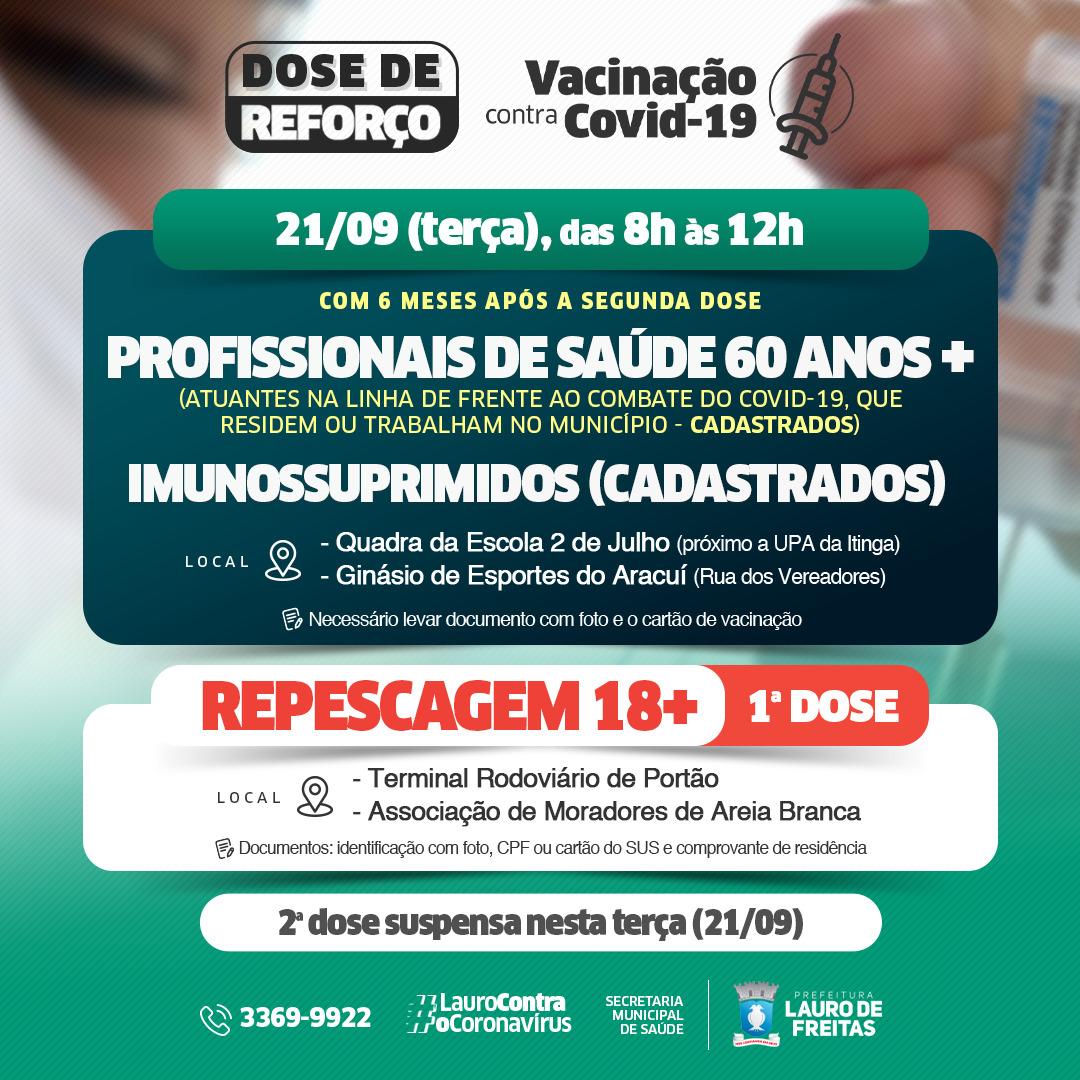 Vacinação contra a Covid-19 será direcionada para dose de reforço e repescagem nesta terça-feira (21), em Lauro de Freitas