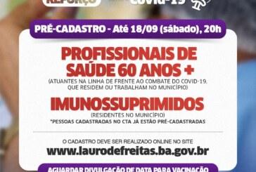 Pré-cadastro para dose de reforço contra a covid-19 é prorrogado em Lauro de Freitas
