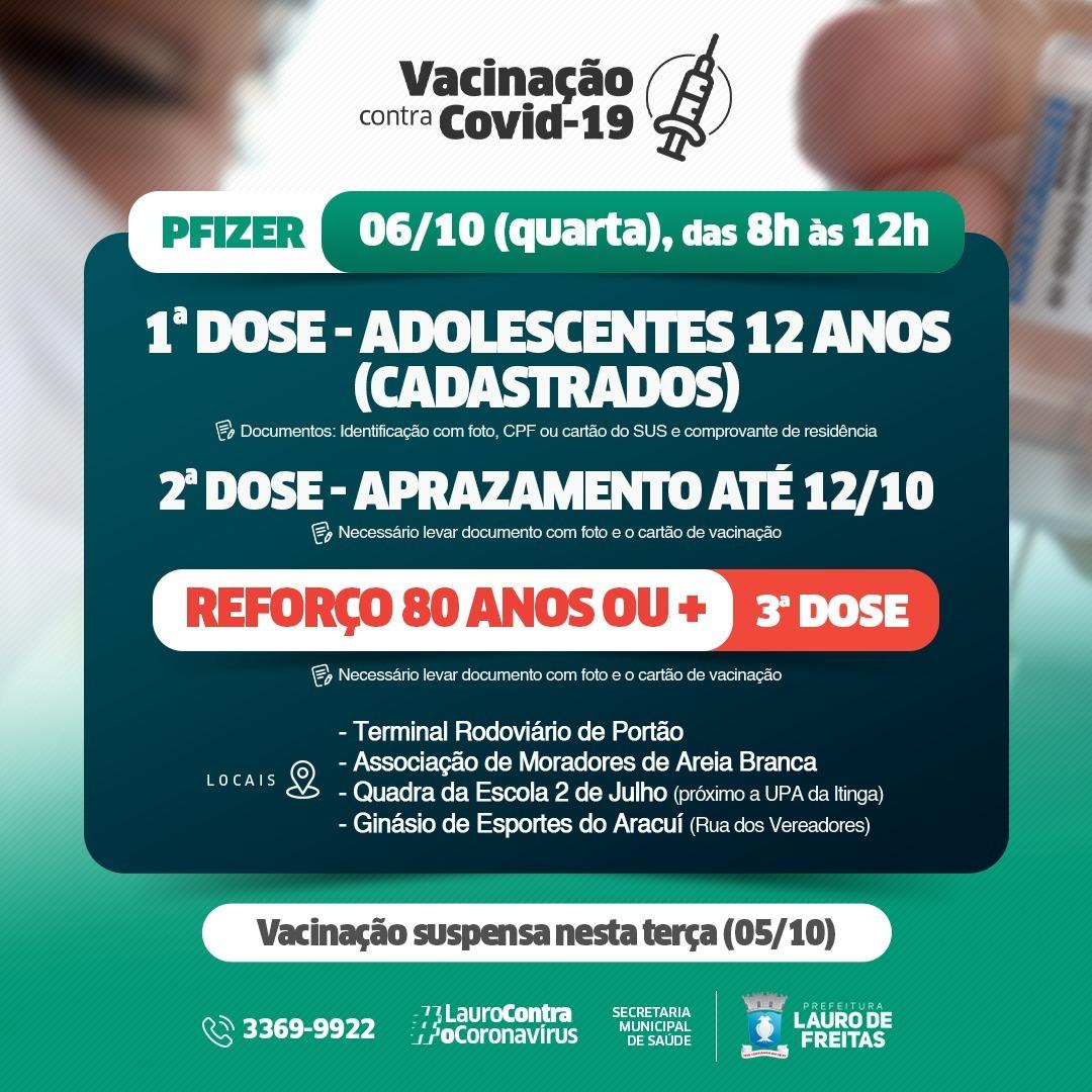 Lauro de Freitas vacina adolescentes com 12 anos, 2ª dose e reforço para idosos nesta quarta-feira (6)