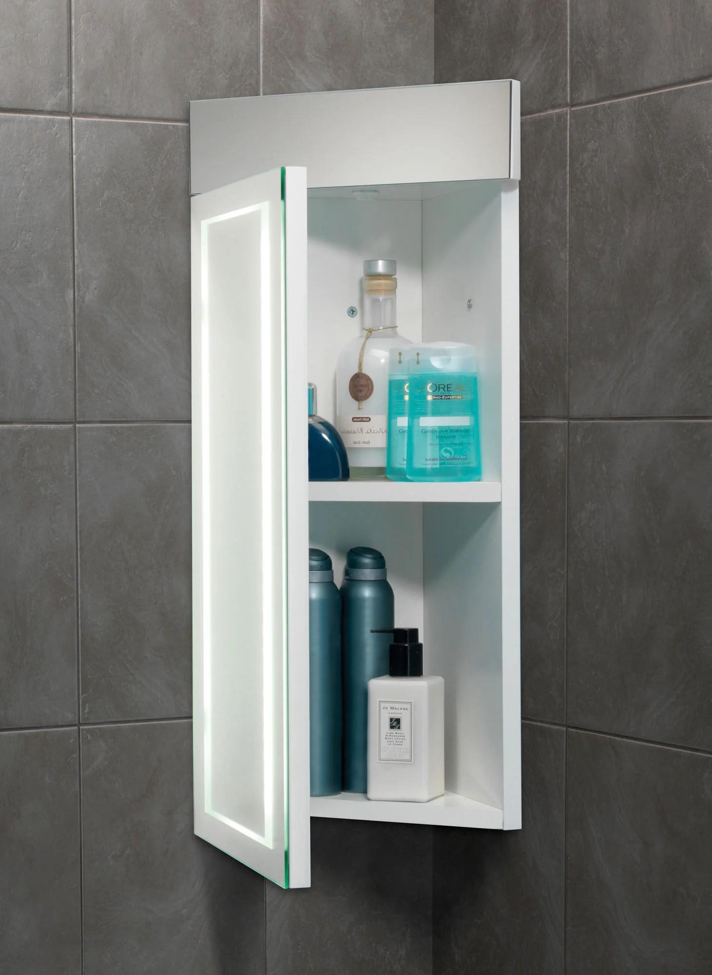 HIB Minnesota LED Illuminated Corner Bathroom Cabinet 300