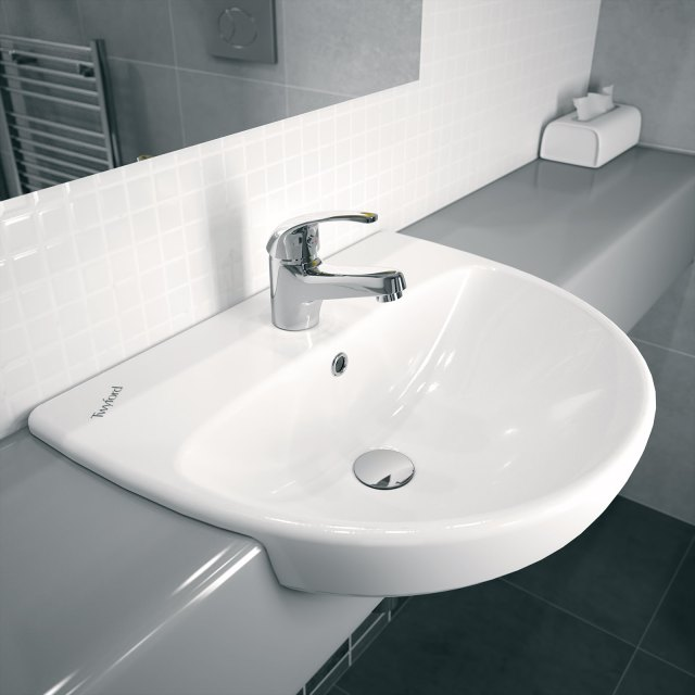 Twyford E100 Round 1 Centre Tap Hole 550x440mm Semi Recessed Basin