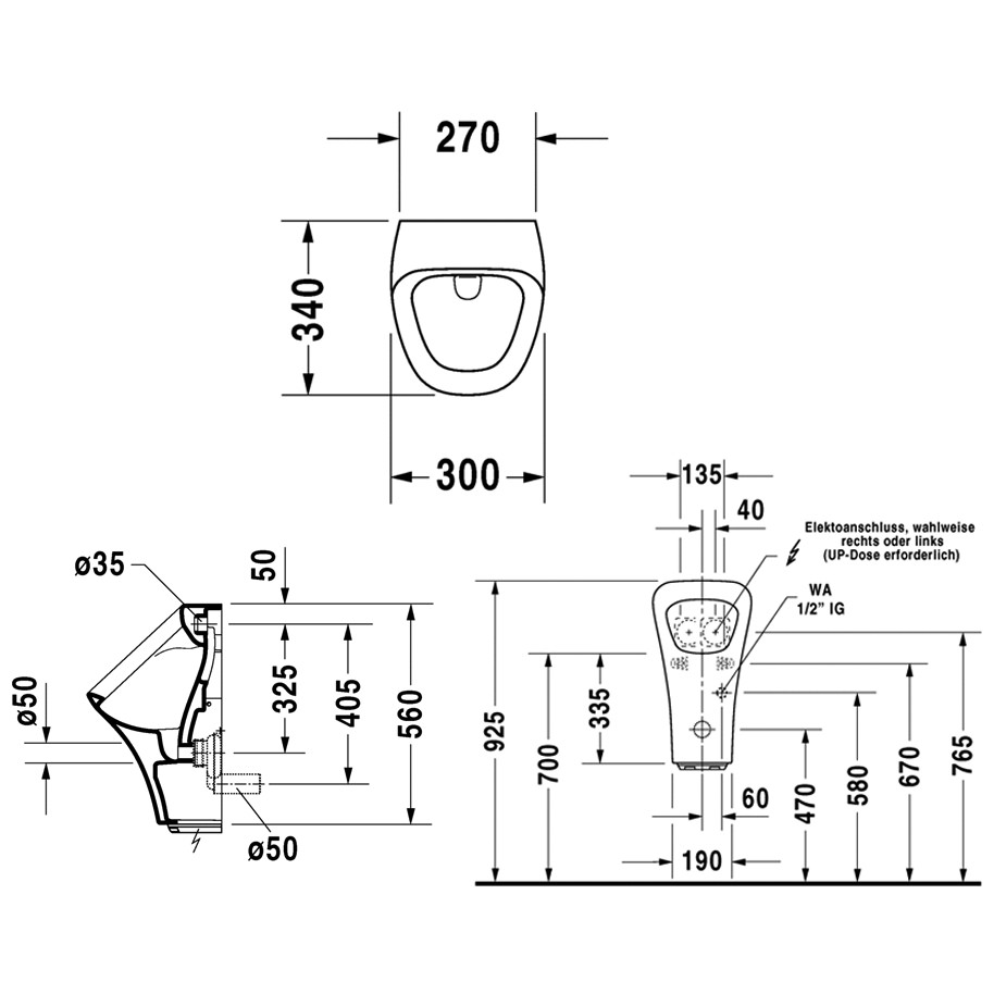Duravit DuraStyle 300x340mm Electronic Urinal For Power