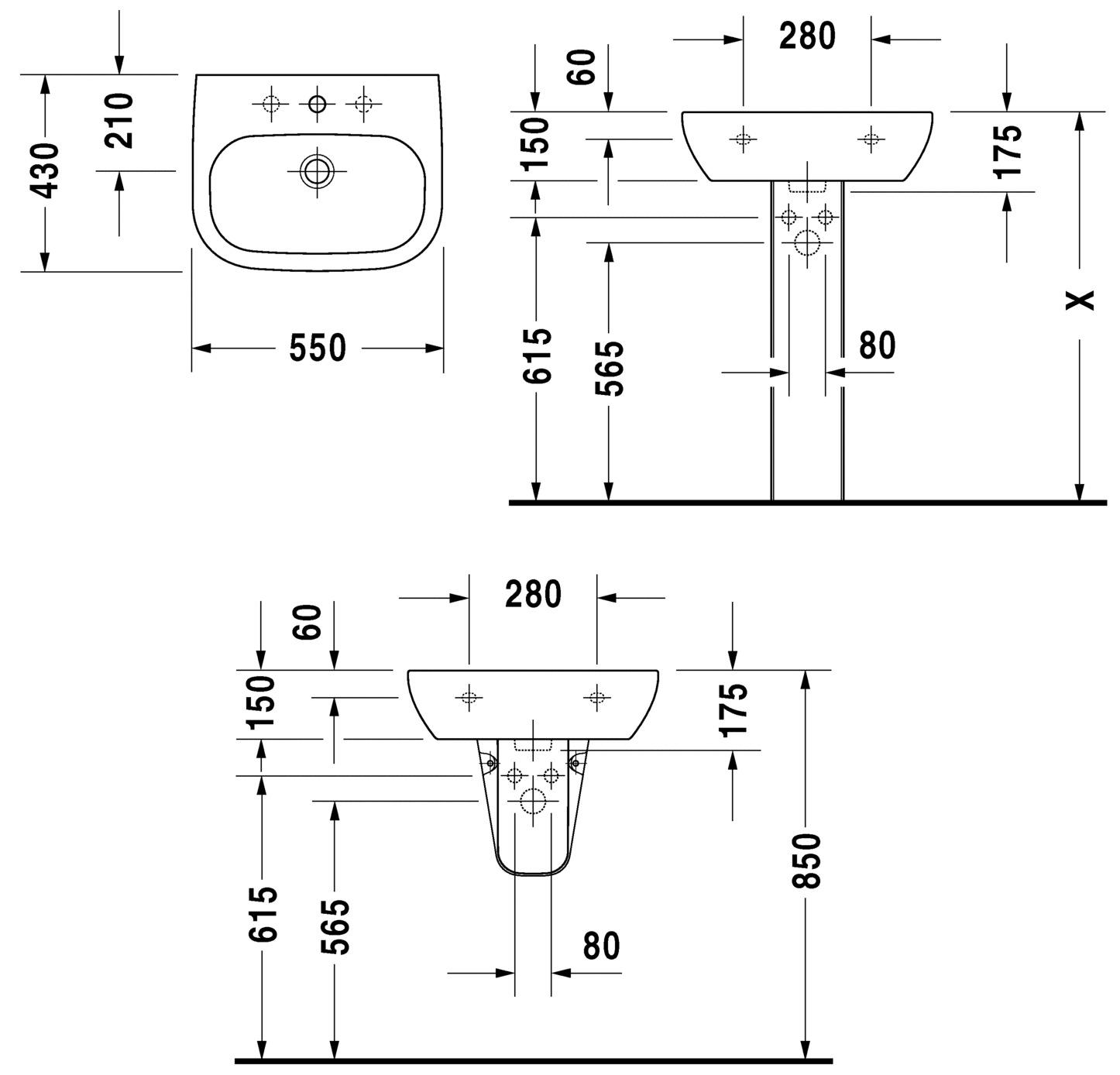 Duravit D Code 550mm Washbasin With Overflow