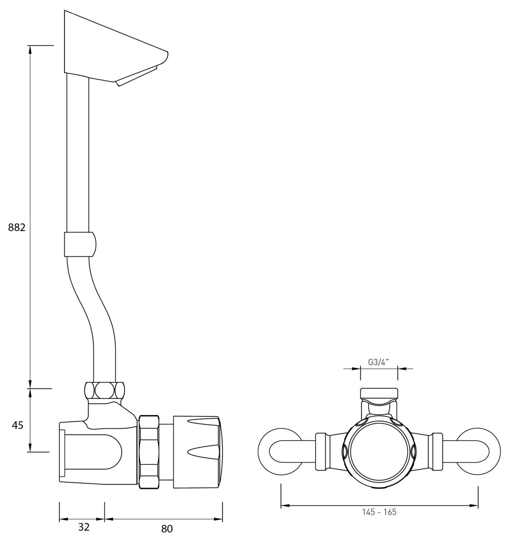 Bristan Commercial Timed Flow Temperature Adjustable