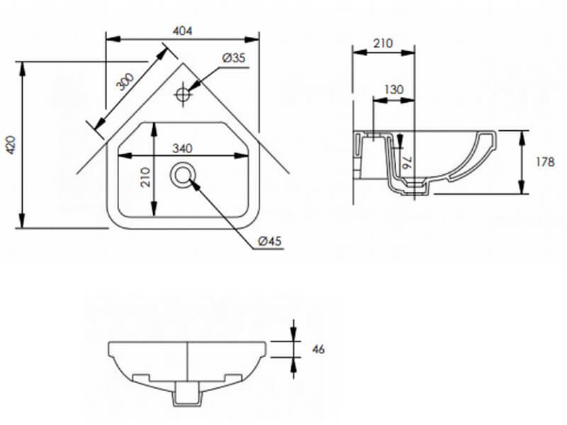 Tavistock Niche 405mm Small Wall Hung Corner Basin With 1