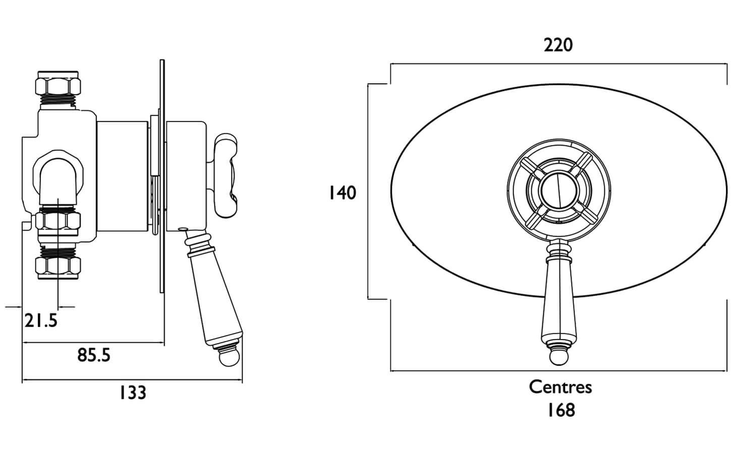 Bristan 1901 Thermostatic Recessed Dual Control Shower Valve