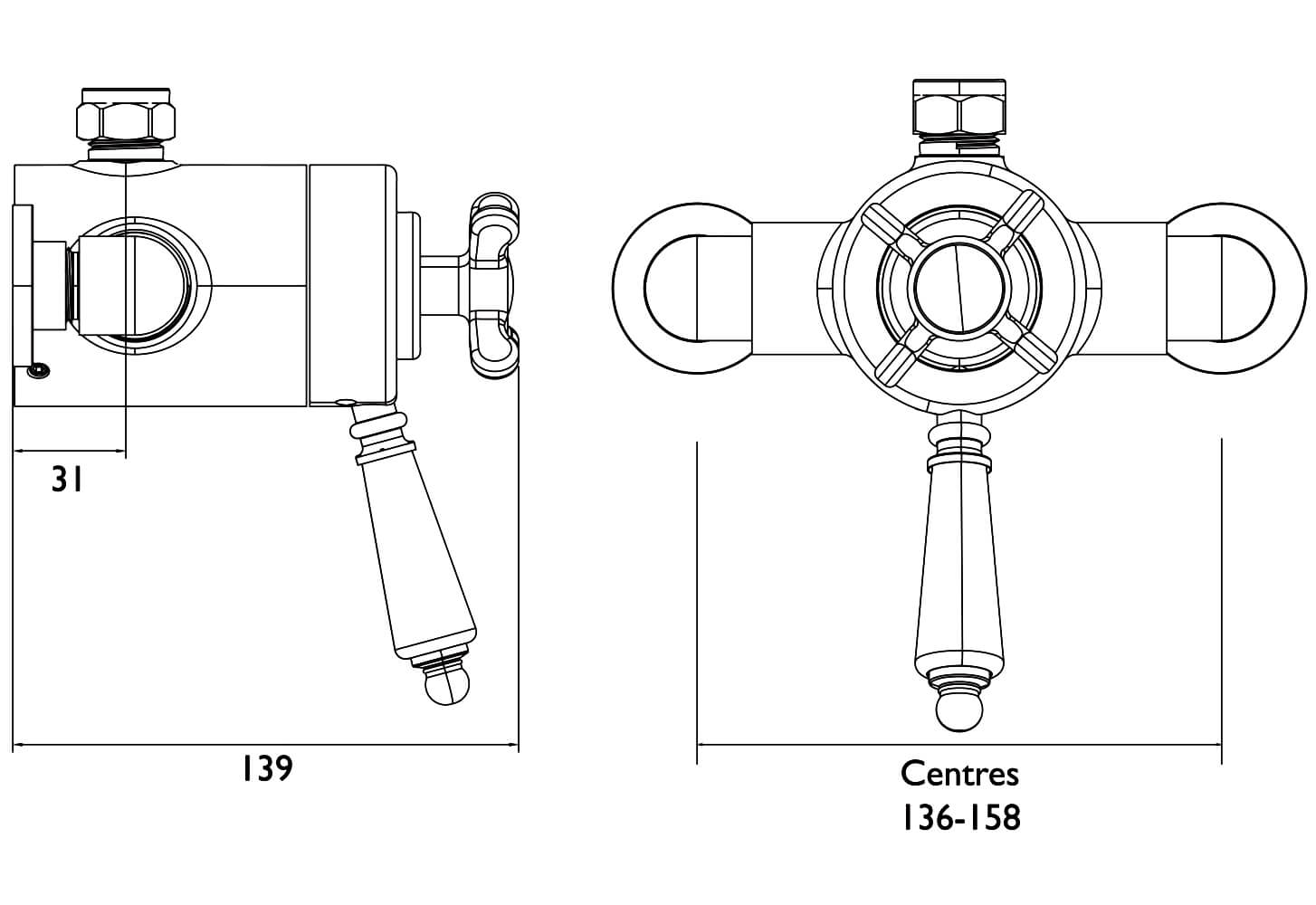 Bristan 1901 Chrome Thermostatic Exposed Dual Control