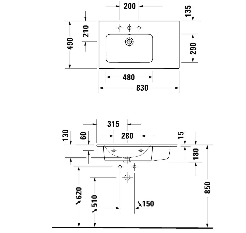 Duravit L Cube Vanity Unit Wall Mounted 2 Drawer Vanity