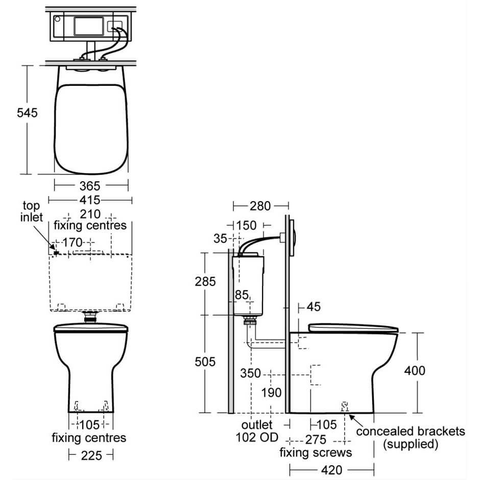 Ideal Standard Studio Echo Back To Wall WC Pan With