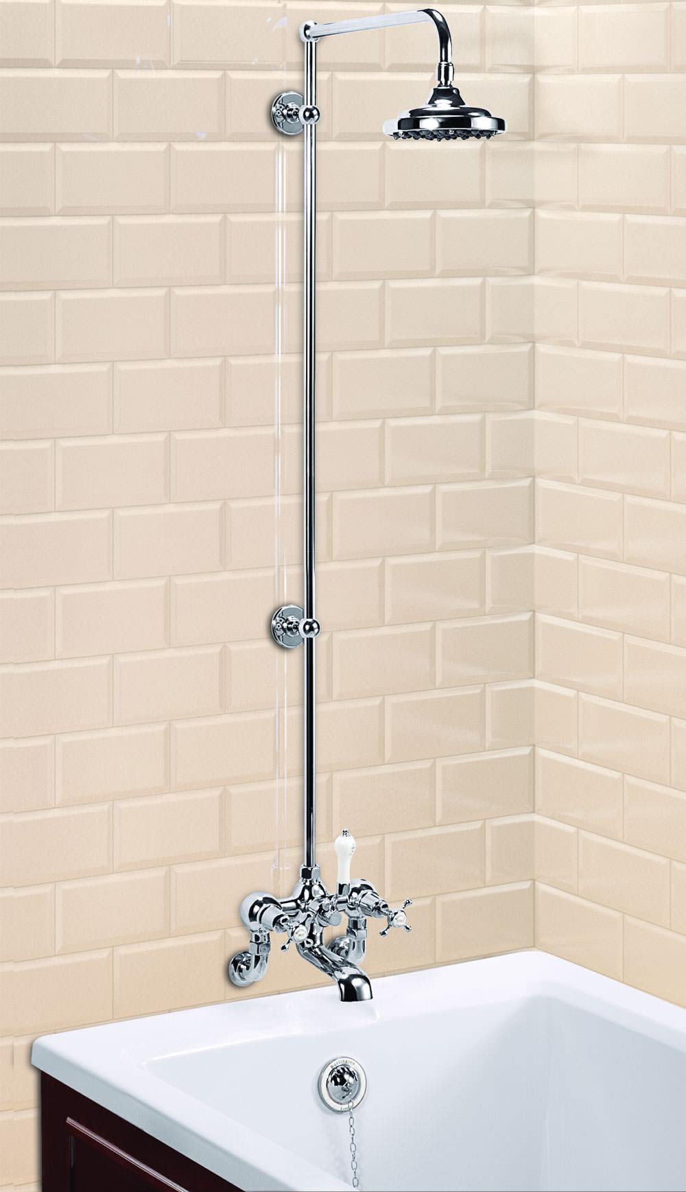 Burlington Wall Mounted Bath Shower Mixer With Rigid Riser