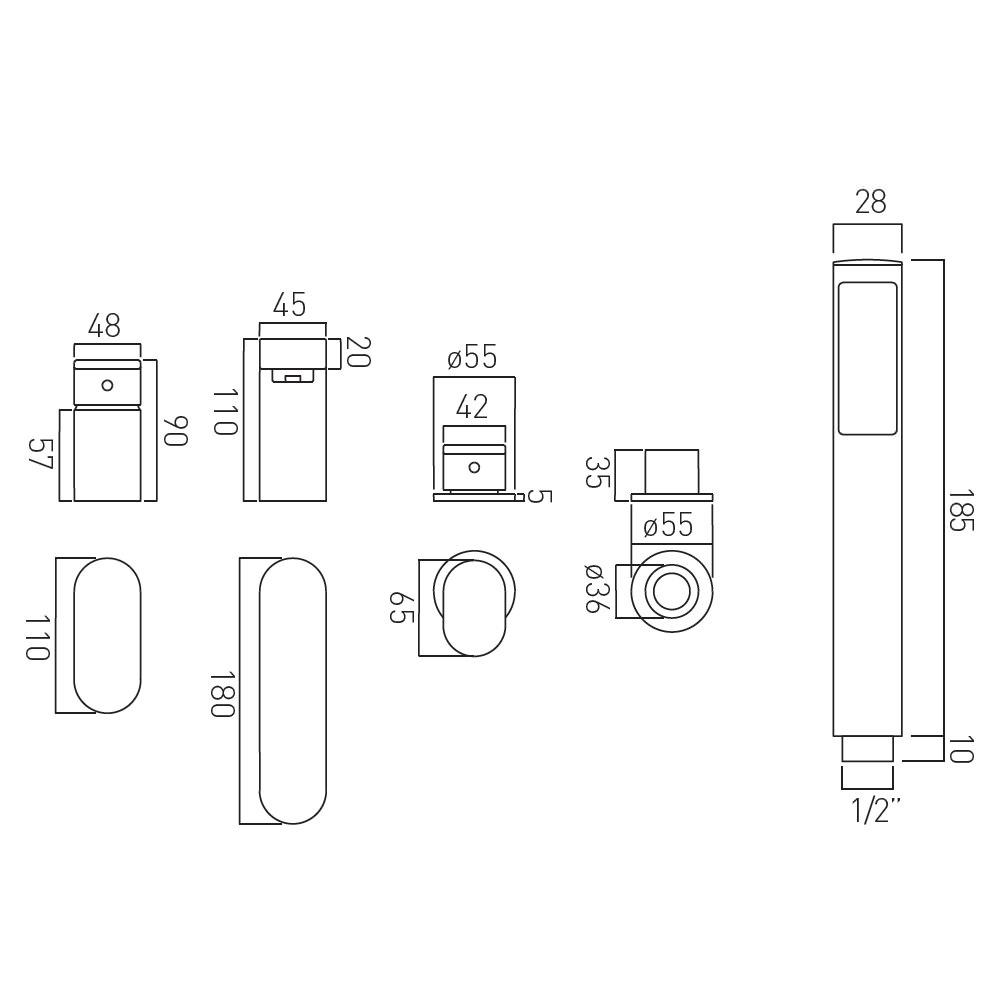 Vado Life Deck Mounted 4 Hole Bath Shower Mixer Tap