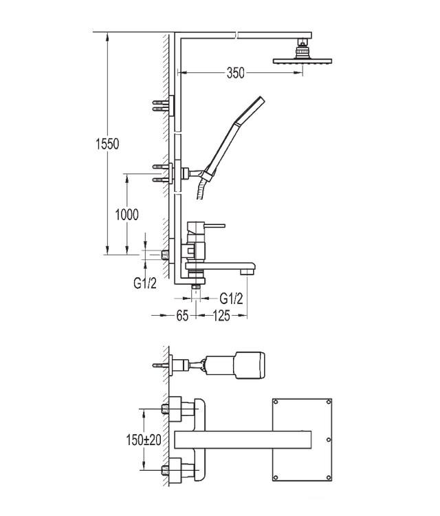 Flova Essence Manual Rigid Riser Shower With Diverter Bath