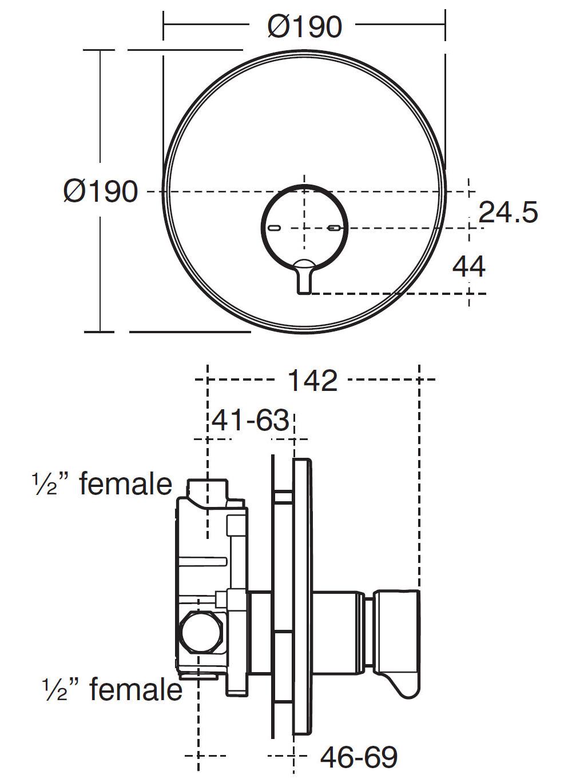 Armitage Shanks Avon 21 Built-In Self Closing Shower Mixer