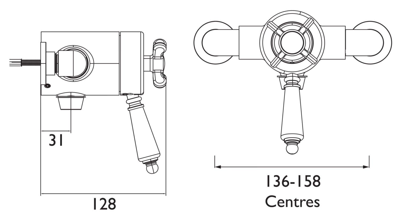 Bristan 1901 Thermostatic Bottom Outlet Shower Valve Chrome