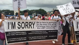 "A group of Filipino Pentecostal Christians marched in a Pride parade with an ""I'm Sorry"" sign"