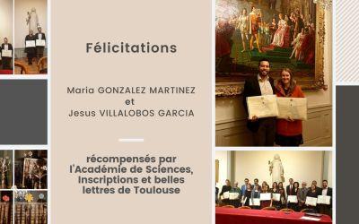 2 docteurs du LGC récompensés par l'Académie de Sciences, Inscriptions et belles lettres de Toulouse