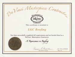 LGC Roofing is a Certified DaVinci Masterpiece Contractor!