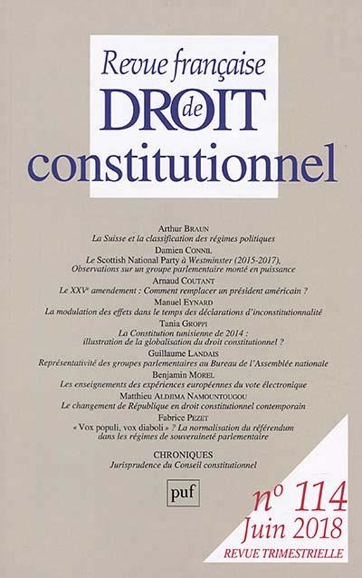 Revue Française De Droit Constitutionnel : revue, française, droit, constitutionnel, Revue, Française, Droit, Constitutionnel,, N°114, Collectif, 9782130803072, Lgdj.fr