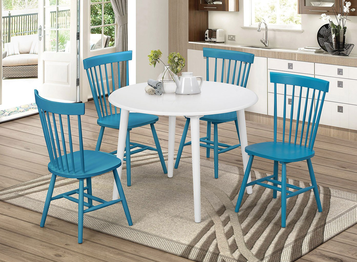 Teal Kitchen Chairs Emmett Round Dining Room Set W Teal Chairs Casual