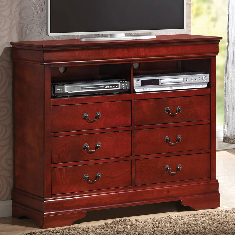 Louis Philippe Media Chest Rich Cherry  Media Chests