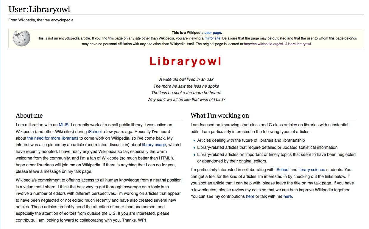 User page screenshot