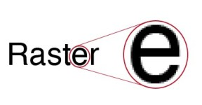 """Word """"Raster"""" with the letter e magnified to show pixilated and jagged edges."""