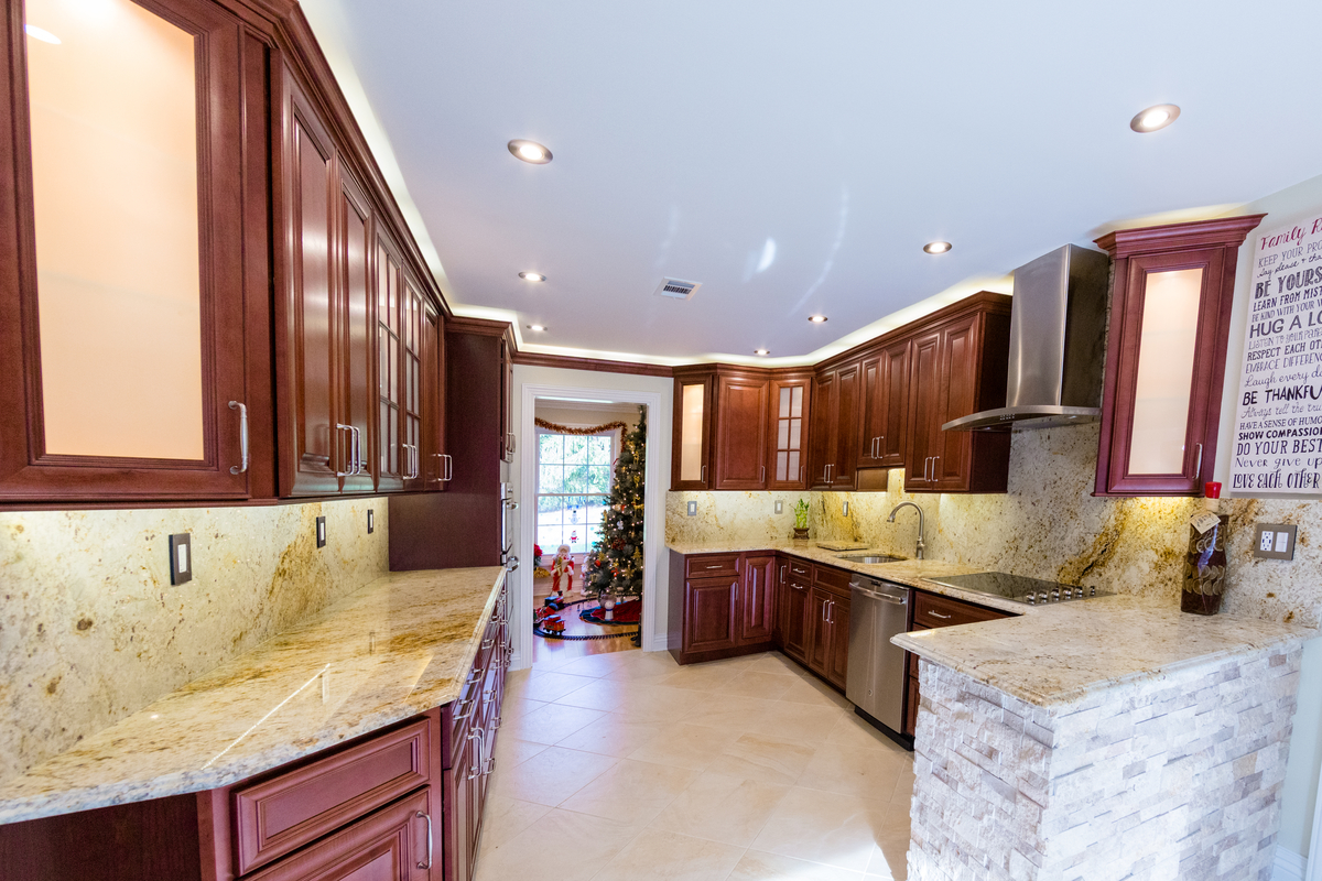granite kitchen countertops pictures 6 ft island how to keep your stone damage free let s get colonial gold counter top