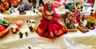 Golu 2013 - Step 9 - Varalakshmi flanked by fruits, veggies, animals and village life