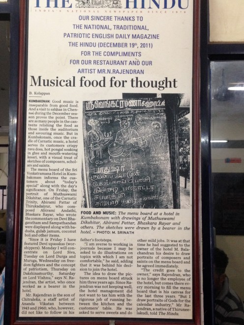 Article on Hindu about the Cafe and the artist, N.Rajendran