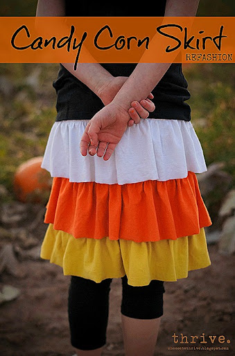 Thrive: Halloween Refashion: The Candy Corn Ruffle Skirt
